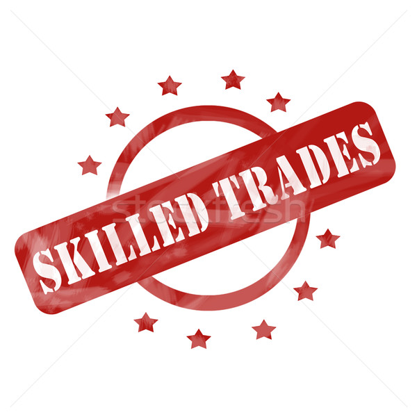 Red Weathered Skilled Trades Stamp Circle and Stars design Stock photo © mybaitshop
