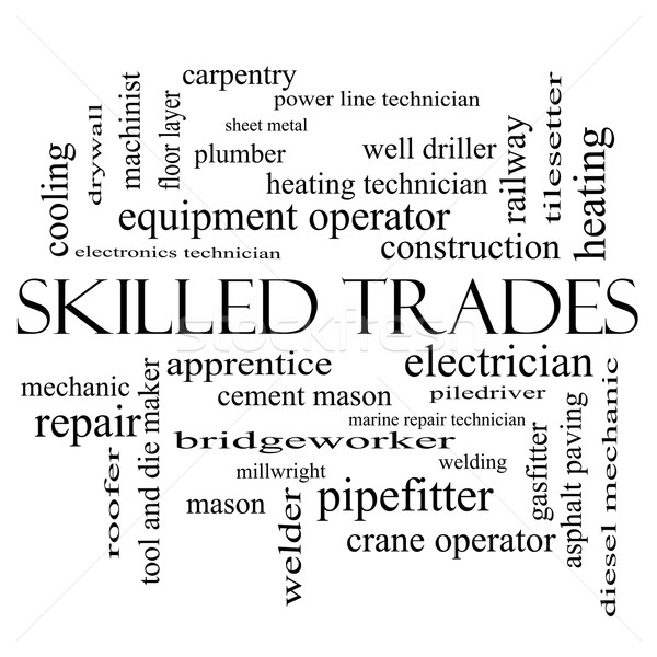 Skilled Trades Word Cloud Concept in black and white Stock photo © mybaitshop
