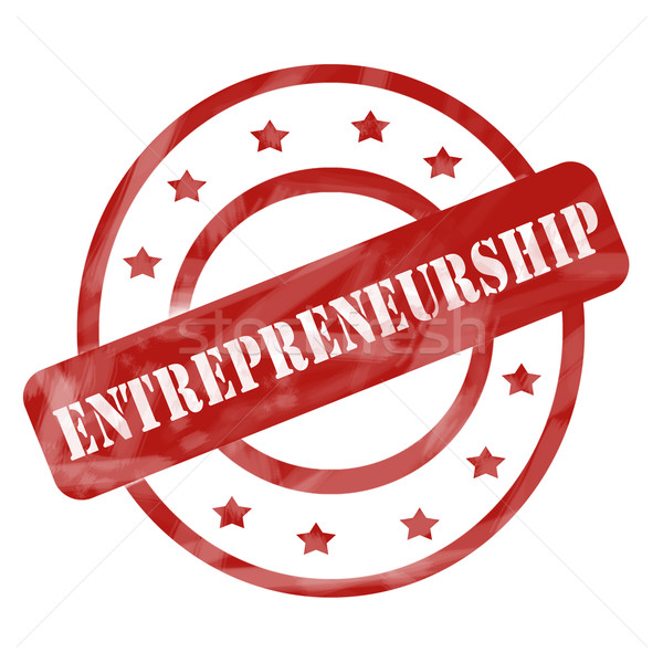 Red Weathered Entrepreneurship Stamp Circles and Stars Stock photo © mybaitshop