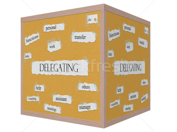 Delegating 3D cube Corkboard Word Concept Stock photo © mybaitshop