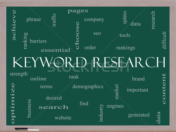 Keyword Research Word Cloud Concept on a Blackboard Stock photo © mybaitshop
