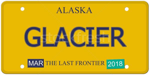 Glacier Alaska plaque d'immatriculation imitation mot dernier Photo stock © mybaitshop
