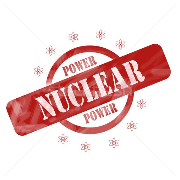 Piros viharvert nukleáris erő bélyeg kör Stock fotó © mybaitshop