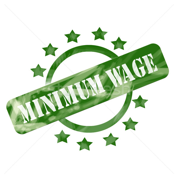 Green Weathered Minimum Wage Stamp Circle and Stars design Stock photo © mybaitshop