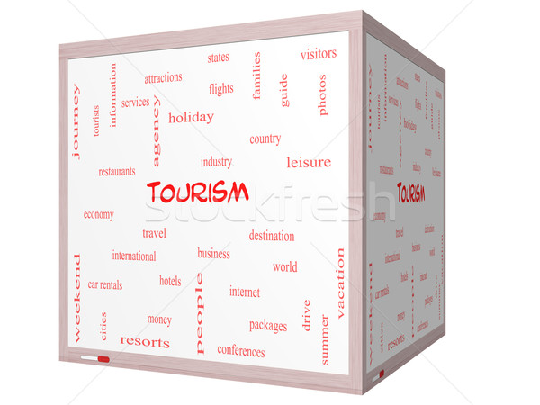 Tourism Word Cloud Concept on a 3D cube Whiteboard Stock photo © mybaitshop