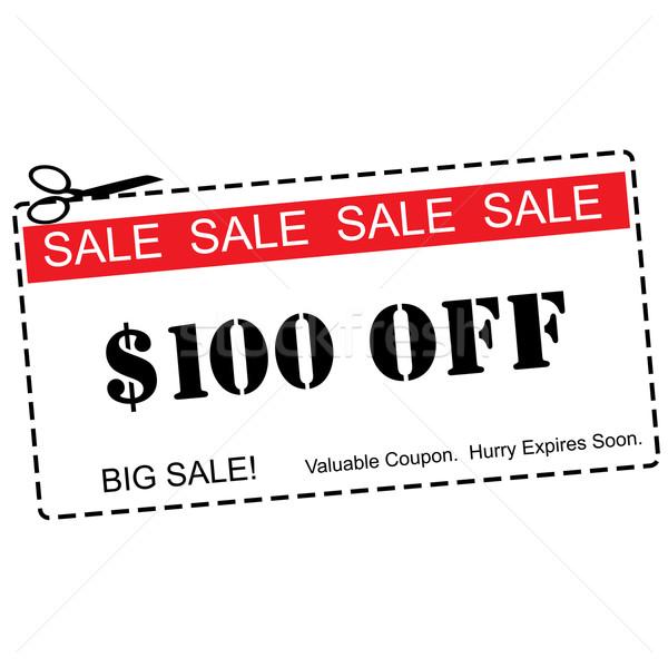 One Hundred Dollars Off Sale Coupon Stock photo © mybaitshop