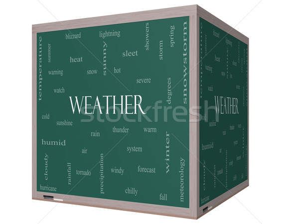 Weather 3D cube Word Cloud Concept on a Blackboard Stock photo © mybaitshop