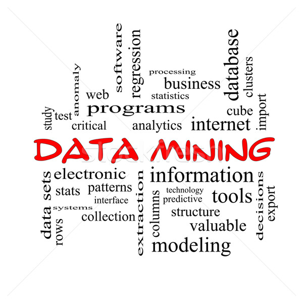 Data Mining Word Cloud Concept in red caps Stock photo © mybaitshop