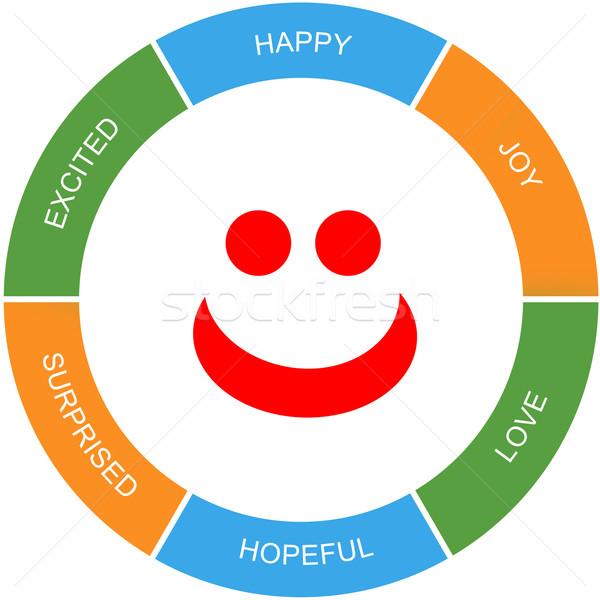 Cara feliz palabra círculo rojo feliz Foto stock © mybaitshop