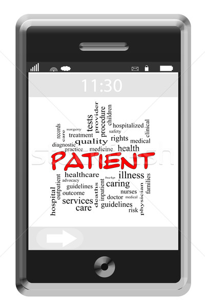 Patient Word Cloud Concept on a Touchscreen Phone Stock photo © mybaitshop