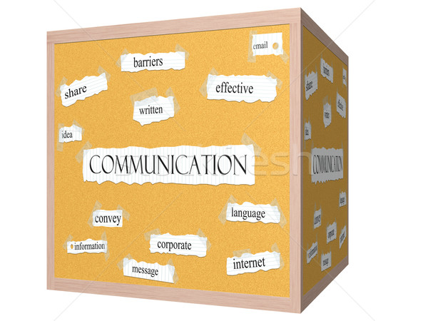 Communication 3D cube Corkboard Word Concept Stock photo © mybaitshop