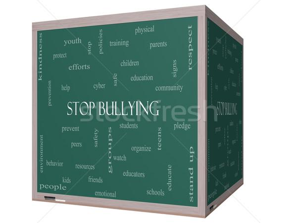 Stop megfélemlítés szófelhő 3D kocka iskolatábla Stock fotó © mybaitshop