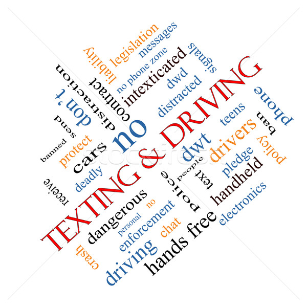 Texting and Driving Word Cloud Concept Angled Stock photo © mybaitshop