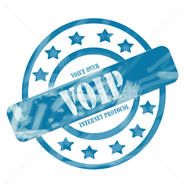 Blue Weathered VOIP Stamp Circles and Stars Stock photo © mybaitshop