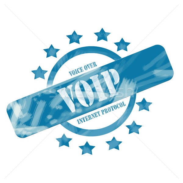 Blue Weathered VOIP Stamp Circle and Stars design Stock photo © mybaitshop