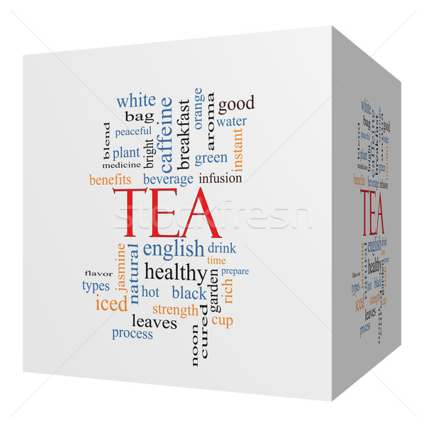 Chá 3D cubo nuvem da palavra quente Foto stock © mybaitshop