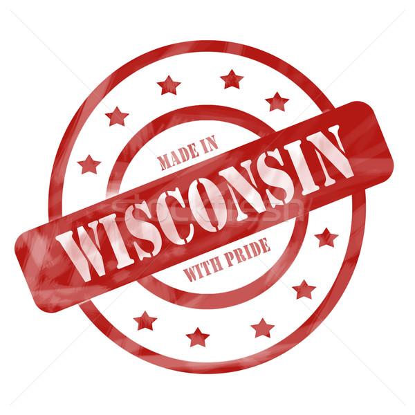 Kırmızı yıpranmış Wisconsin gurur damga circles Stok fotoğraf © mybaitshop