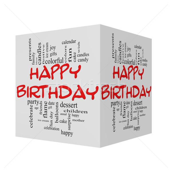Stockfoto: Gelukkige · verjaardag · 3D · kubus · Rood · woordwolk · groot