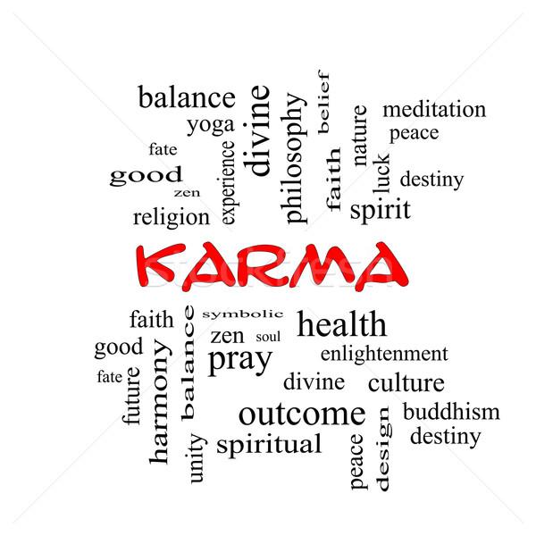Karma szófelhő piros nagyszerű egyensúly jóga Stock fotó © mybaitshop
