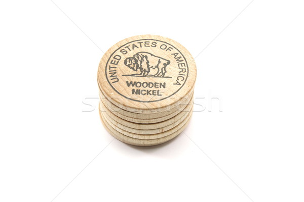 Stack of Wooden Buffalo Nickels Stock photo © mybaitshop