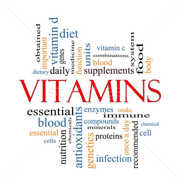 Vitaminok szófelhő nagyszerű immúnis diétás táplálkozás Stock fotó © mybaitshop