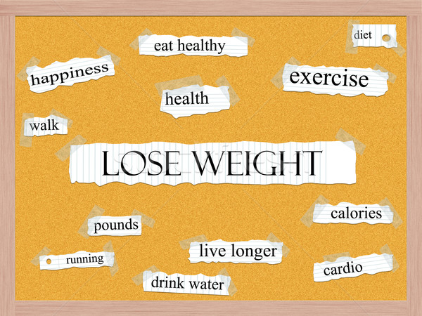 Lose Weight Corkboard Word Concept Stock photo © mybaitshop