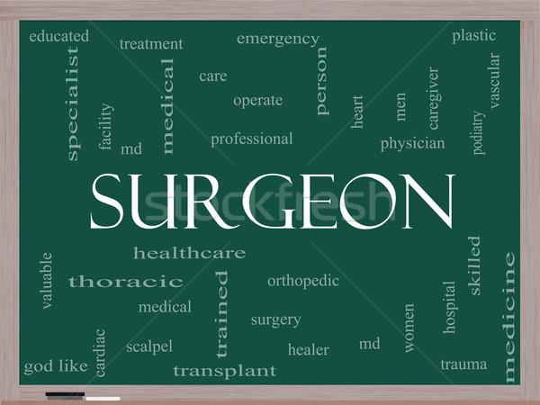 Surgeon Word Cloud Concept on a Blackboard Stock photo © mybaitshop