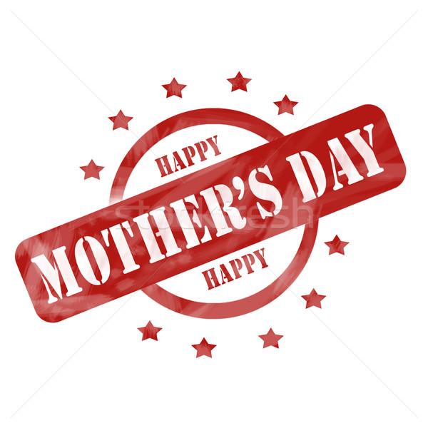 Vermelho resistiu feliz dia das mães carimbo círculo estrelas Foto stock © mybaitshop