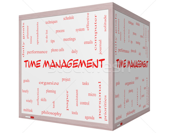 Time Management Word Cloud Concept on a 3D cube Whiteboard Stock photo © mybaitshop