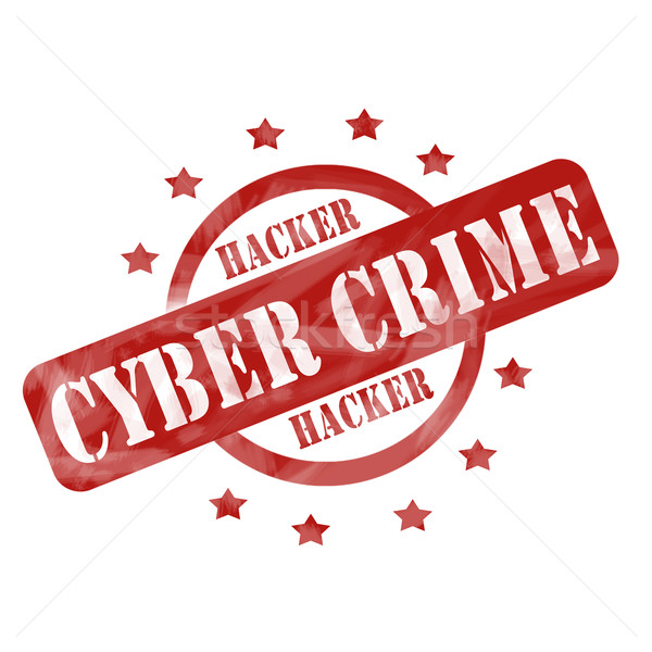 Red Weathered Cyber Crime Stamp Circle and Stars design Stock photo © mybaitshop