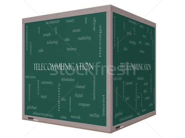 Telecommunicatie woordwolk 3D kubus Blackboard groot Stockfoto © mybaitshop