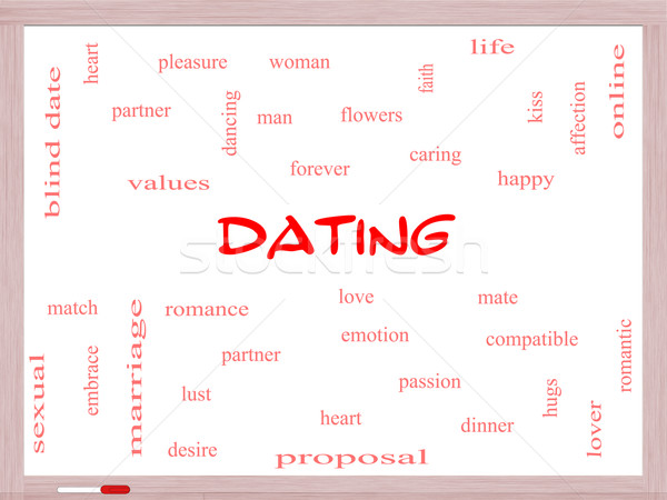 Dating Word Cloud Concept on a Whiteboard Stock photo © mybaitshop