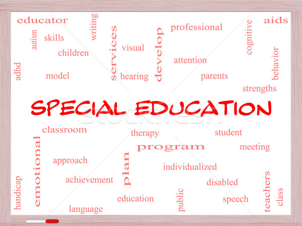 Special Education Word Cloud Concept on a Whiteboard Stock photo © mybaitshop