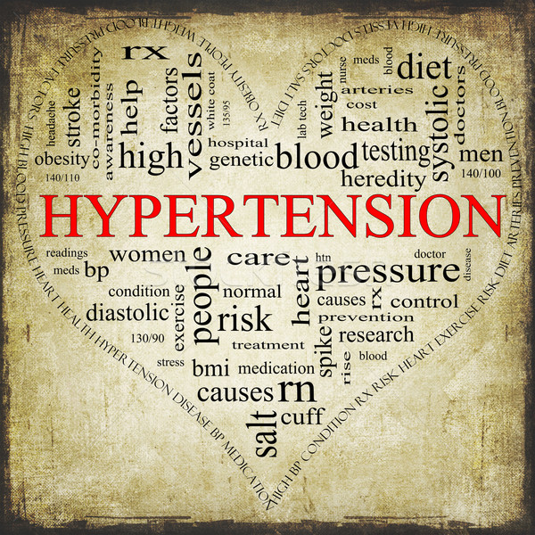 Grunge Hypertension heart shaped word cloud concept Stock photo © mybaitshop