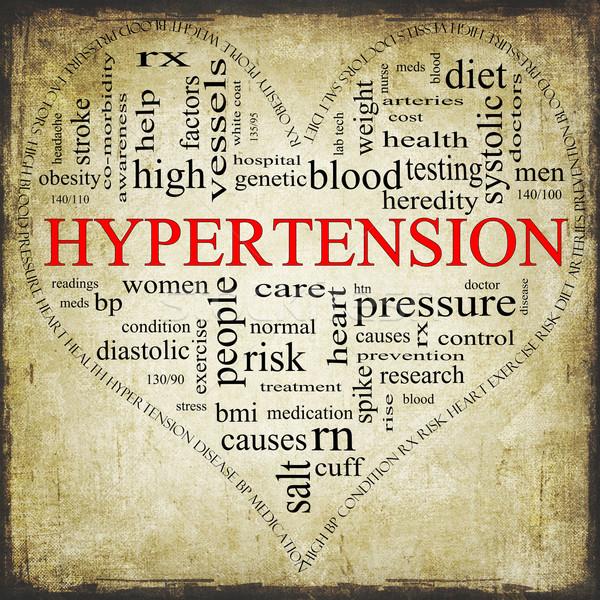 Grunge magas vérnyomás szív alakú szófelhő mintázott Stock fotó © mybaitshop