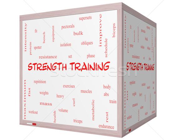 Krachttraining woordwolk 3D kubus groot Stockfoto © mybaitshop