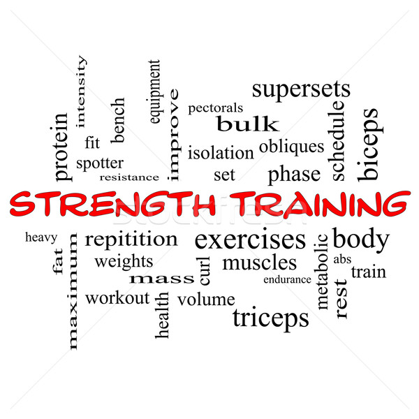 Strength Training Word Cloud Concept in red caps Stock photo © mybaitshop