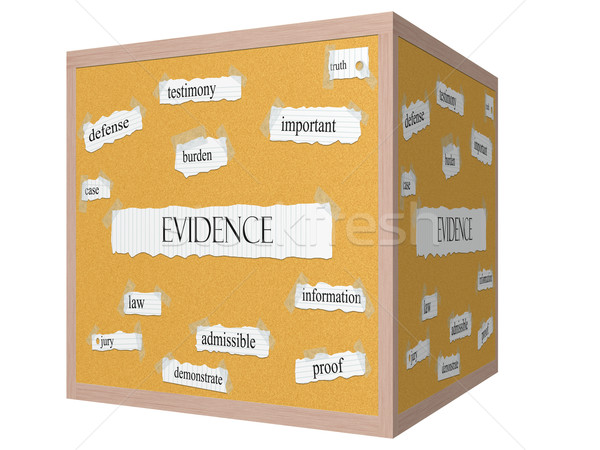 Evidence 3D cube Corkboard Word Concept Stock photo © mybaitshop