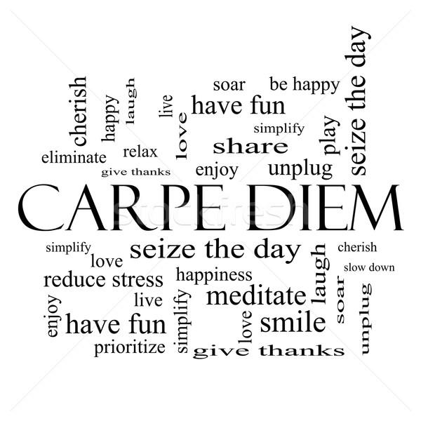Carpe Diem Word Cloud Concept in black and white Stock photo © mybaitshop