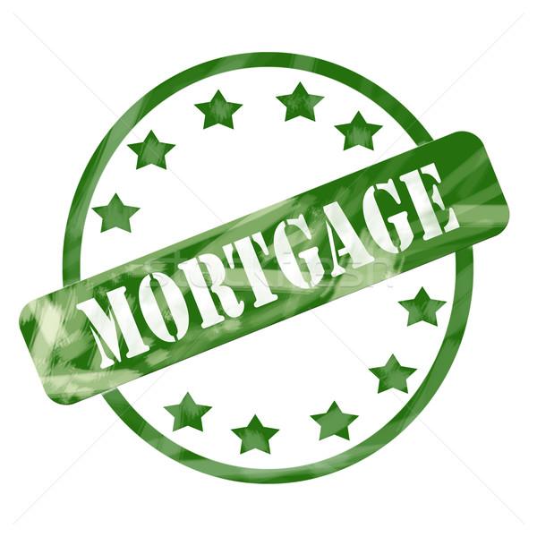 Vert patiné hypothèque tampon cercle étoiles Photo stock © mybaitshop