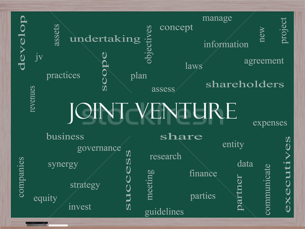 Joint Venture Word Cloud Concept on a Blackboard Stock photo © mybaitshop