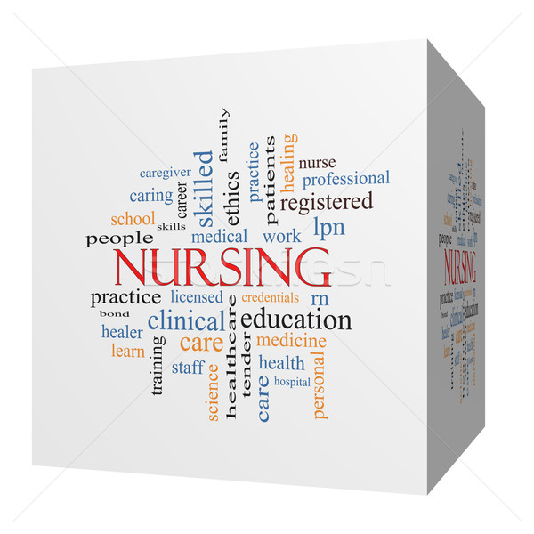 Nursing 3D cube Word Cloud Concept Stock photo © mybaitshop