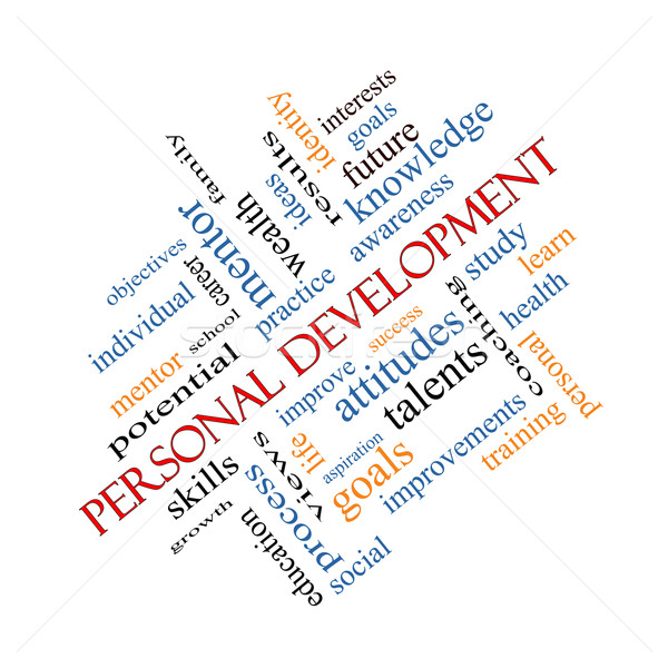 Personal Development Word Cloud Concept Angled Stock photo © mybaitshop