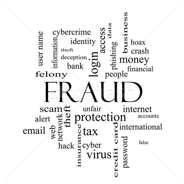 Bedrog woordwolk zwart wit groot alarm identiteitsdiefstal Stockfoto © mybaitshop