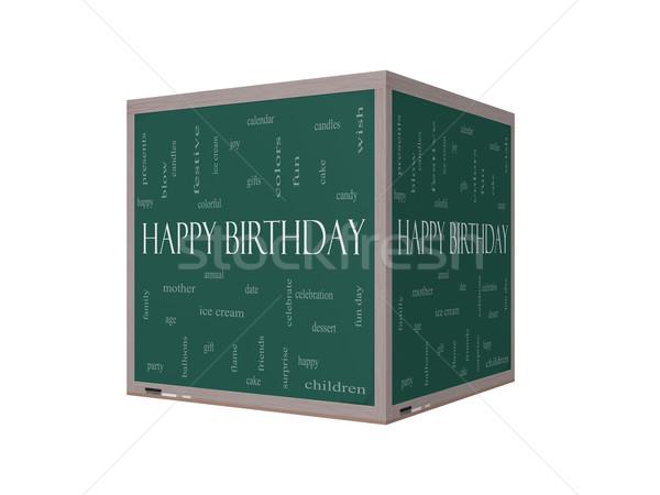 Happy Birthday 3D Word Cloud Concept on a Blackboard Stock photo © mybaitshop