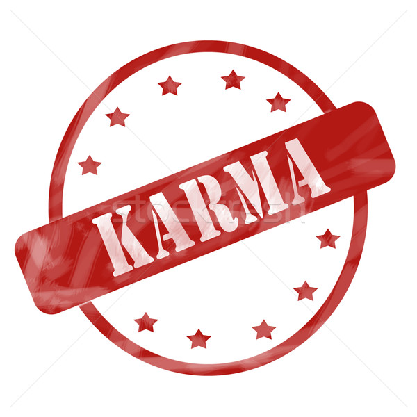 Red Weathered Karma Stamp Circle and Stars Stock photo © mybaitshop