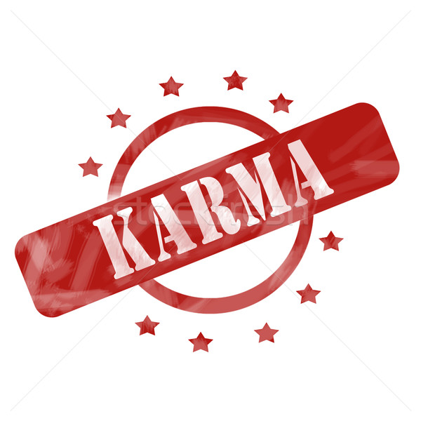 Red Weathered Karma Stamp Circle and Stars design Stock photo © mybaitshop