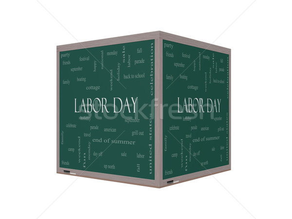 Labor Day Word Cloud Concept on a 3D Blackboard Stock photo © mybaitshop