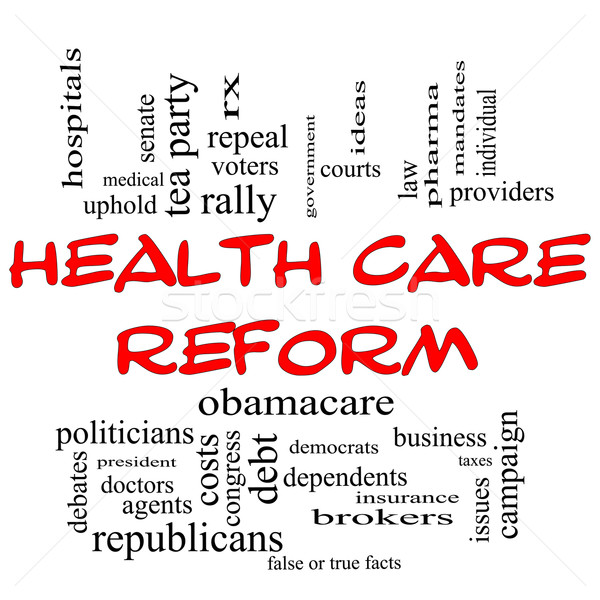 Health Care Reform Word Cloud Concept in Red Caps Stock photo © mybaitshop