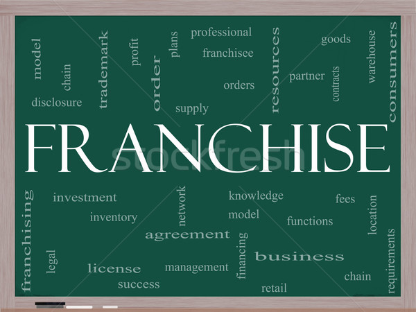Franchise Word Cloud Concept on a Blackboard Stock photo © mybaitshop